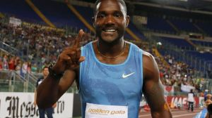 Justin Gatlin after winning a Diamond League event in Rome.