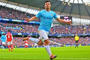 Agüero celebrates a goal against Arsenal.