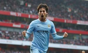 David Silva celebrating at the Emirates Stadium.
