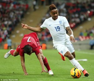 New signing Sterling on the ball for England.