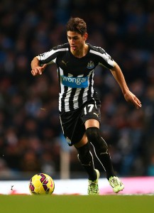 Ayoze Perez on the ball for Newcastle against Manchester City.