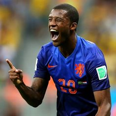 Geoginio Wijnaldum celebrates scoring a goal for Holland at the World Cup.